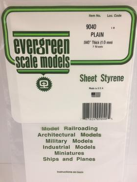 "Evergreen Scale Models Polystyrene Sheet .40"" Think (1.0mm) 9040"