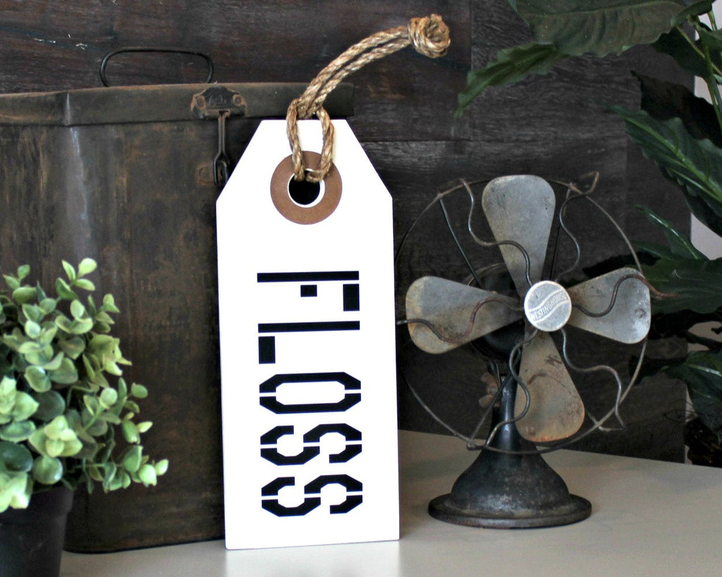 Rustic bathroom decor wood signs floss flush