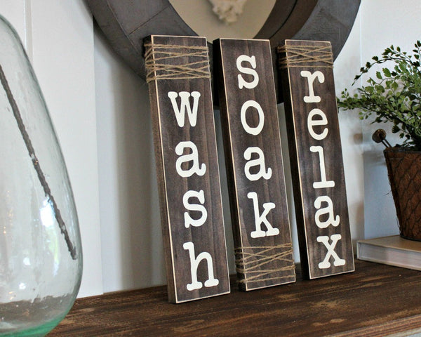 wash soak relax rustic wood signs twine