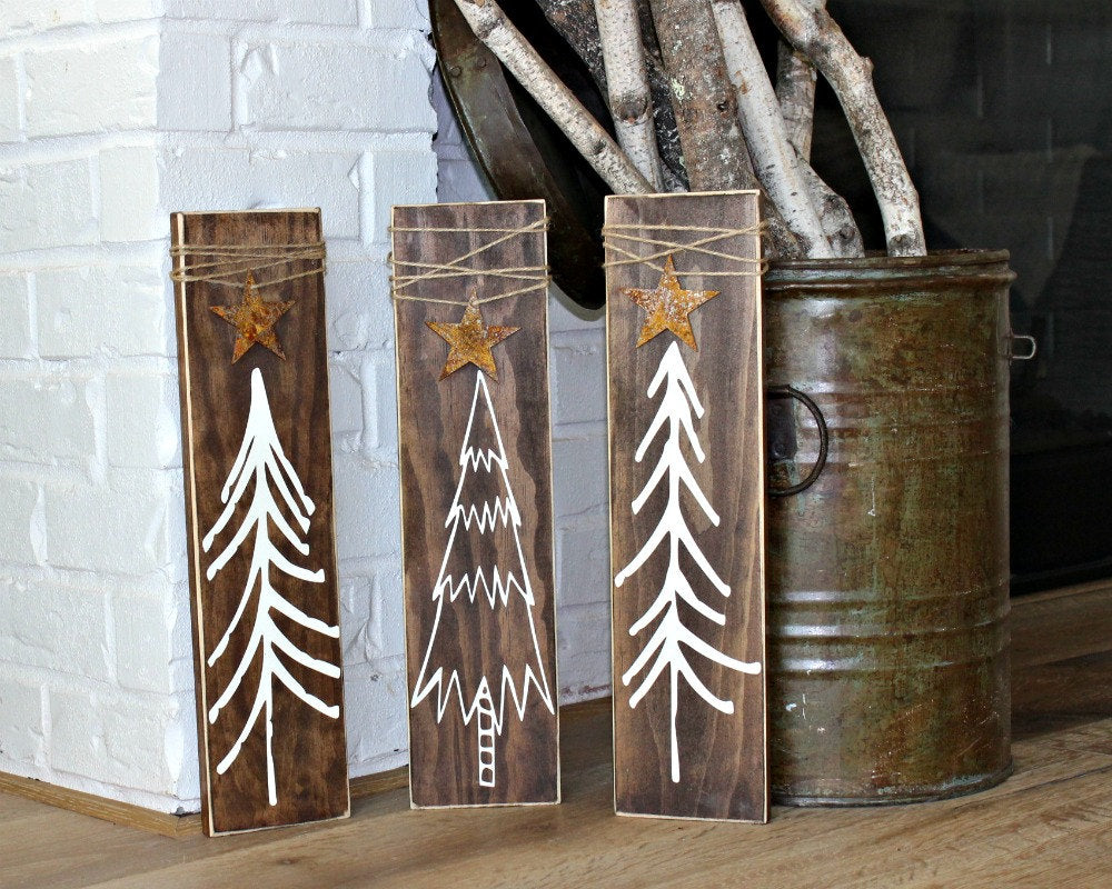 Rustic Christmas Tree Signs - Rustic Christmas Decor - Christmas Stars - Rustic Signs with Twine - Set of 3 - Three Blue Owls Skinny Trees