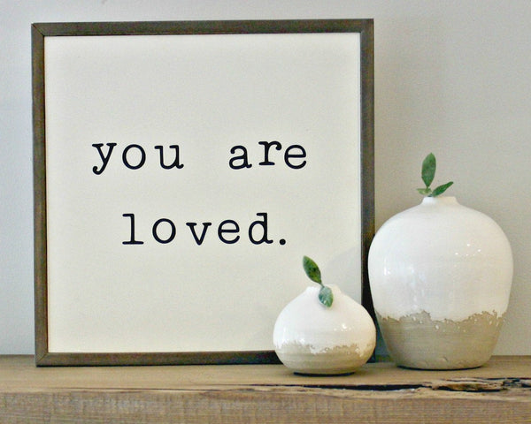 you are loved framed wood sign inspirational gallery wall