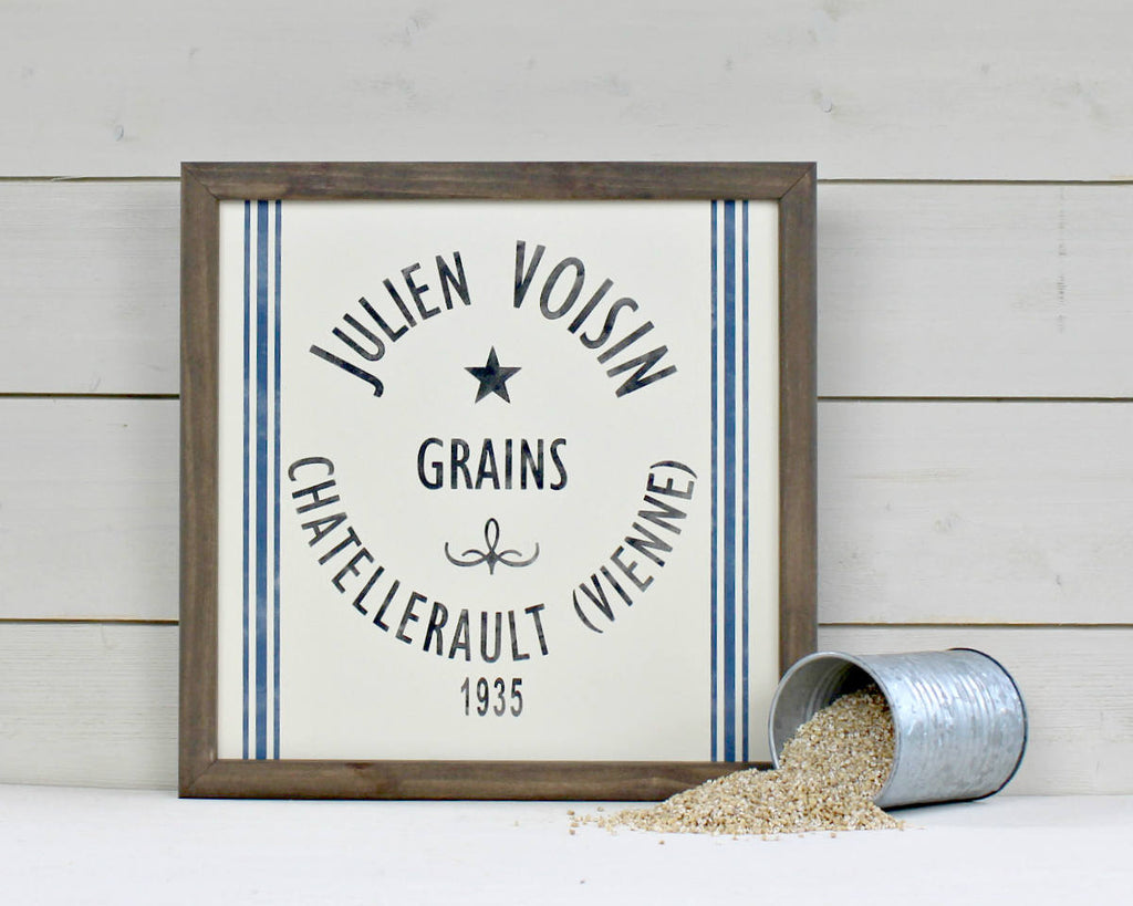 French country grain sack signs
