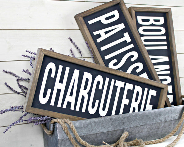 French farmhouse boulangerie patisserie charcuterie signs