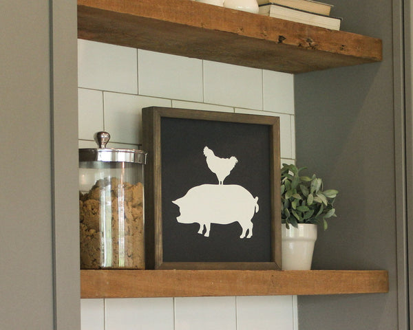Rustic Stacked Farm Animal Sign Chicken Pig Home