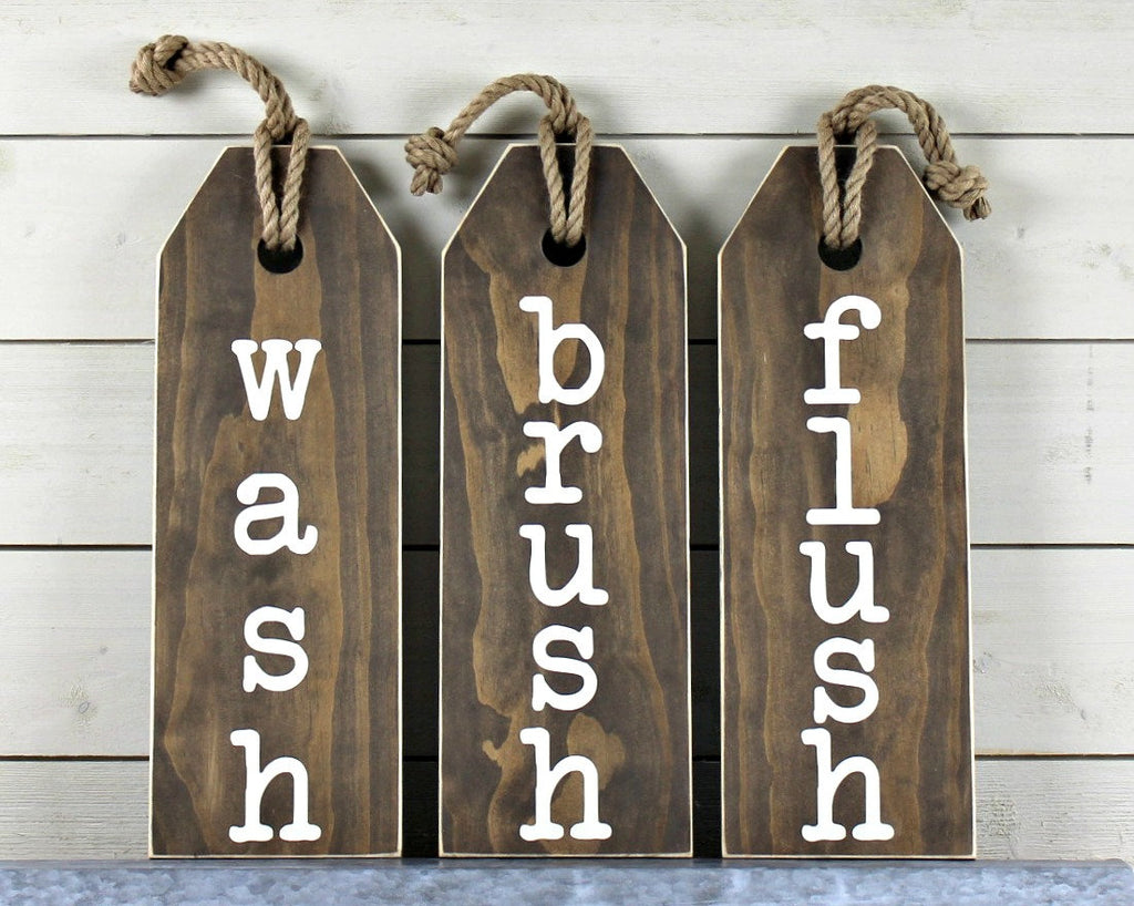 Rustic Bathroom Wall Decor - Flush Floss Wash Soak Relax Sign - Rustic Bathroom Sign - Bathroom Rules Sign - Bathroom Art - Rustic Home Home