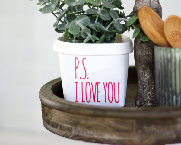 Valentines PS I Love You Washable Paper Bag or Pot - Tiered Tray Decor - Mini Rustic Farmhouse Gift for Her Mom Wife Daughter for Shelf Dorm