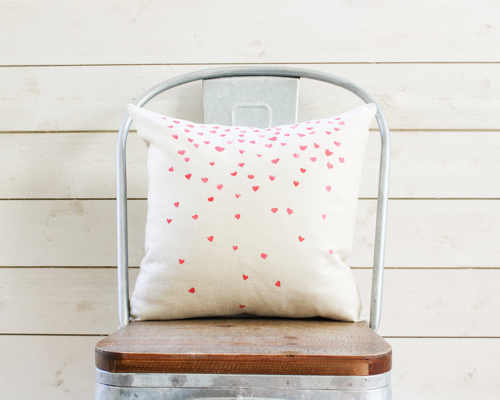 Valentines Day Pillow Cover Pink & Red Watercolor Heart Confetti- Valentines Day Throw Pillow Decor - Rustic Farmhouse Gift for Her Mom Wife