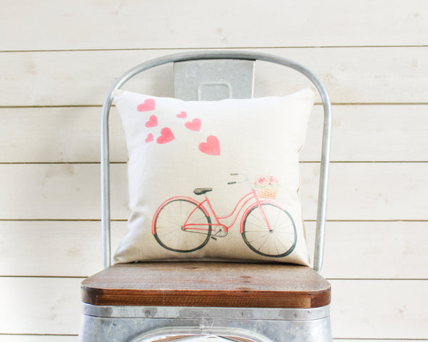 Valentines Day Pillow Cover Pink Red Watercolor Bicycle & Heart Balloons - Throw Pillow Decor - Rustic Farmhouse Gift for Her Mom Wife
