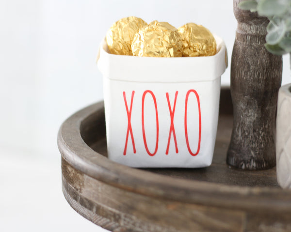 Valentines Red XOXO Washable Paper Bag or Pot - Tiered Tray Decor - Mini Rustic Farmhouse Gift for Her Mom Daughter Grandmother Sister Dorm