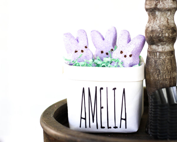 Personalized Easter Tiered Tray Decor First Name Happy Pot for Spring - Rustic Farmhouse Mini Plant or Flower Vase- Washable Paper Bag