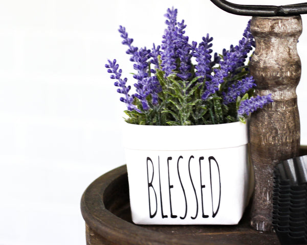 BlessedTiered Tray Decor Happy Pot for Spring - Rustic Farmhouse Mini Plant or Flower Vase- Washable Paper Bag