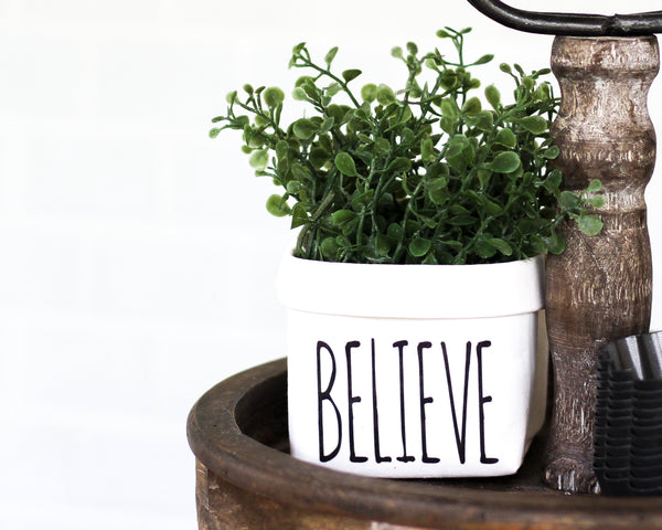 Believe Tiered Tray Decor Happy Pot for Spring - Rustic Farmhouse Mini Plant or Flower Vase- Washable Paper Bag