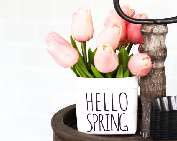 Hello Spring Tiered Tray Decor Happy Pot - Rustic Farmhouse Mini Plant or Flower Vase - Washable Paper Bag