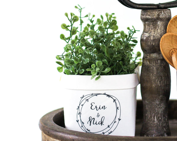 Personalized Tier Tray Decor Wreath Couples or Family Name Happy Pot- Rustic Farmhouse Mini Plant Flower Vase- Bridal Shower Gift