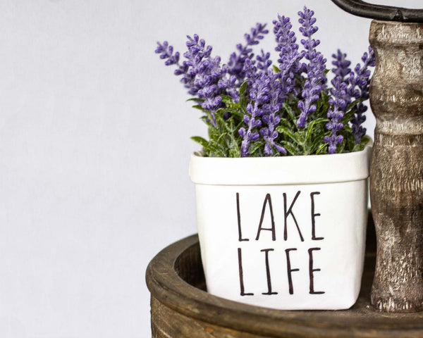Lake LIfe Tiered Tray Decor Happy Pot - Rustic Farmhouse Style - Shelf Sitter - Mini Plant Flower Vase- Washable Paper Bag