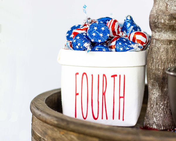 Fourth of July Tiered Tray Decor Happy Pot- Independence Day Decor - Rustic Farmhouse Mini Plant Flower Vase- Washable Paper Bag