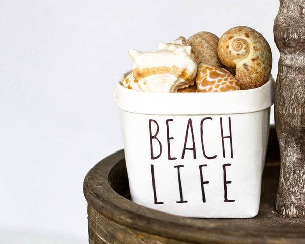 Beach LIfe Tiered Tray Decor Happy Pot - Rustic Farmhouse Style - Shelf Sitter - Mini Plant Flower Vase- Washable Paper Bag