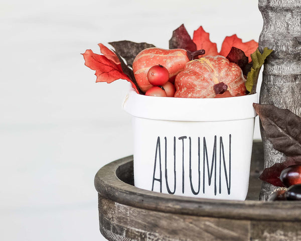 Autumn Tiered Tray Decor Happy Pot - Fall Rustic Farmhouse Style - Shelf Sitter - Mini Plant Flower Vase- Washable Paper Bag