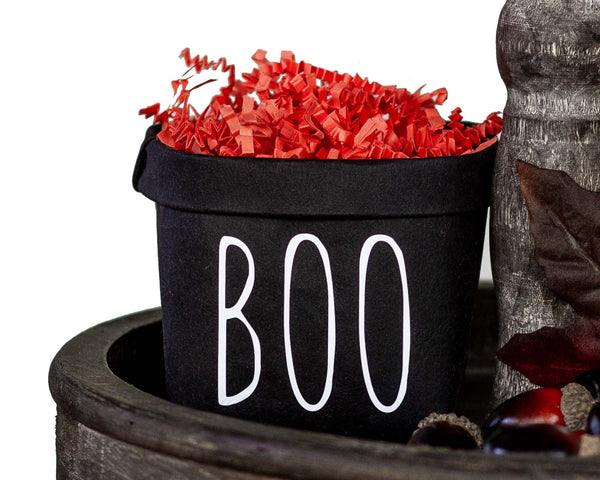 Boo Halloween Tiered Tray Decor Happy Pot - Fall Rustic Farmhouse Style - Shelf Sitter - Mini Plant Flower Vase-