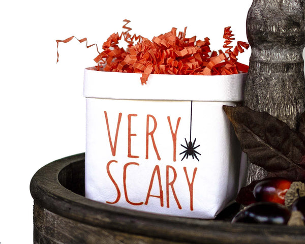 Very Scary Halloween Tiered Tray Decor Happy Pot - Fall Rustic Farmhouse Style - Shelf Sitter - Mini Plant Flower Vase- Washable Paper Bag