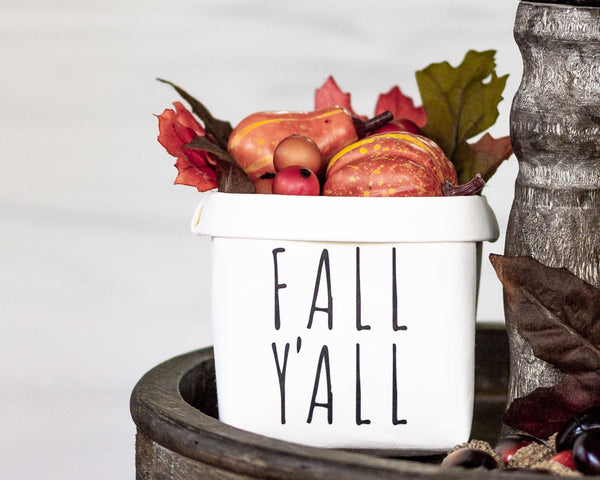 It's Fall Y'all Tiered Tray Decor Happy Pot - Fall Rustic Farmhouse Style - Shelf Sitter - Mini Plant Flower Vase- Washable Paper Bag