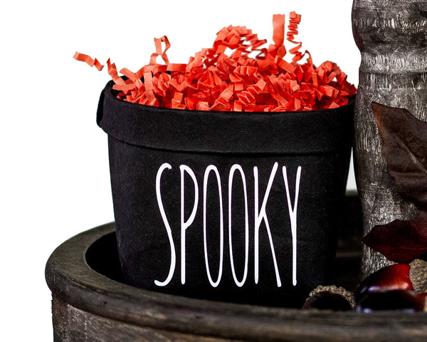 Spooky- Halloween Tiered Tray Decor Happy Pot - Fall Rustic Farmhouse Style - Shelf Sitter - Mini Plant Flower Vase- Washable Paper Bag