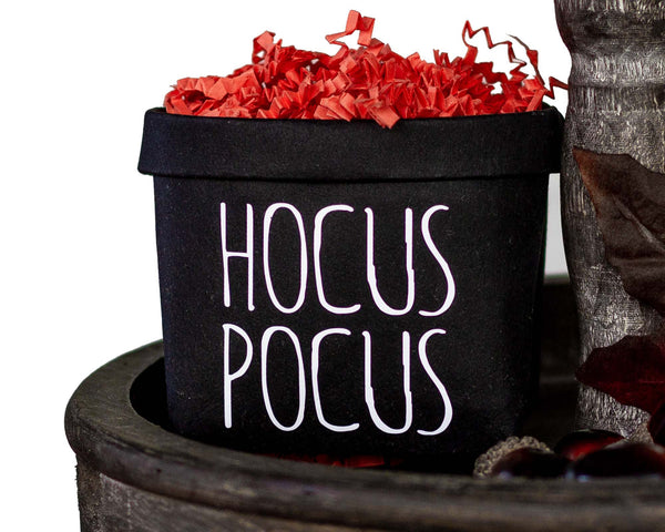 Hocus Pocus Halloween Tiered Tray Decor Happy Pot - Fall Rustic Farmhouse Style - Shelf Sitter - Mini Plant Flower Vase-
