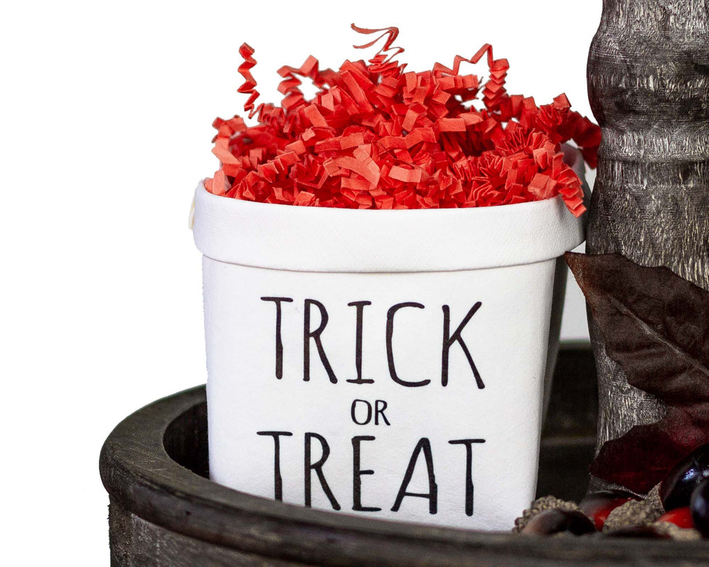 Trick or Treat Halloween Tiered Tray Decor Happy Pot - Fall Rustic Farmhouse Style - Shelf Sitter - Mini Plant Flower Vase-