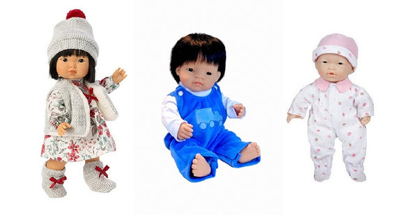 Four of our most popular Asian Dolls for Children from the Pattycake Doll Company
