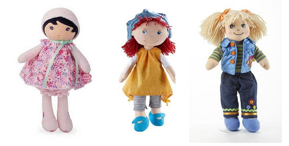 five rag dolls for girls from the Pattycake Doll Company
