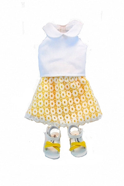 For 14.5 Inch Dolls: Sunshine & Lace; Skirt Blouse and Summer Sandals set