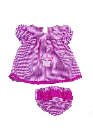For 15 inch Dolls: Cupcakes & Gingham, 2pc Romper and Diaper Cover set