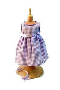 For 15 inch Dolls: Spring in Lavender and Gingham Sleeveless Doll's Dress