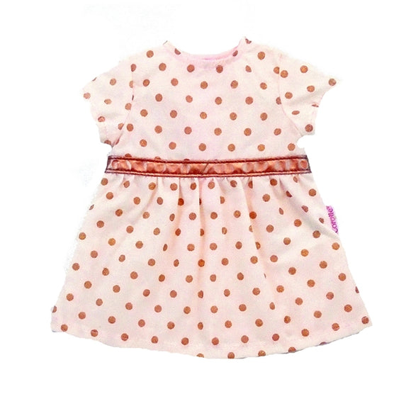Pink and Bronze Polka Dot 15 inch doll's dress, Empire Waist