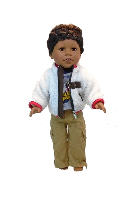 Heres an 18 inch boy black boy doll in the Mountain Rescue 18 inch boy doll clothes