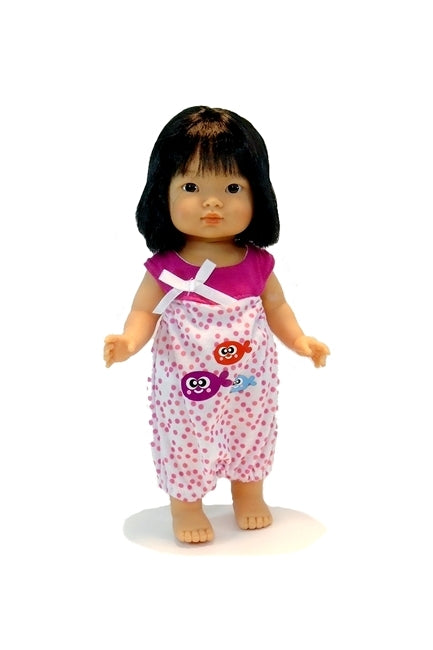 For Dottie Aja Dolls: One piece Romper in Pink Dots and Fish Design