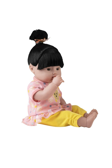 Asian Baby doll Sunny Citrus is 13 inches and can suck her thumb or take her bottle