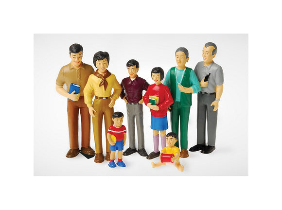 8 piece Asian Dollhouse set Mom and Dad, Grandma and Grandpa, brother, sister, toddler and baby