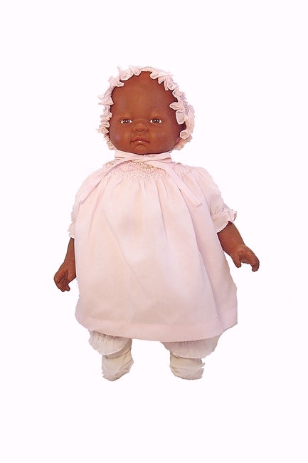 Melanie, a Beautiful Black Baby Doll in her Smocked Outfit with Bonnet