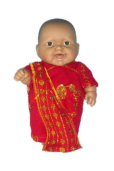 Small Multicultural Baby Girl Doll in Hand Made Sari