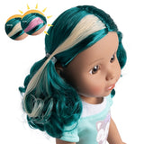 A close up of the sun activated color changing hair of the Be Bright dolls from Adora