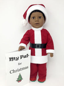 18 inch Black Boy Doll in Holiday Outfit to make a Black Santa Claus Doll