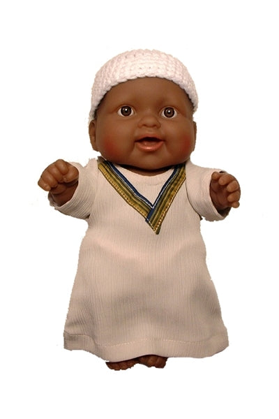 Small Black Muslim Baby Boy Doll in Kufi and Kaftan Outfit