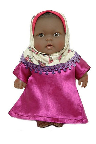Black Muslim Baby Doll in Hijab and Abaya outfit