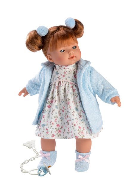 a 13 inch softbody redhead childrens doll with blue eyes and freckles