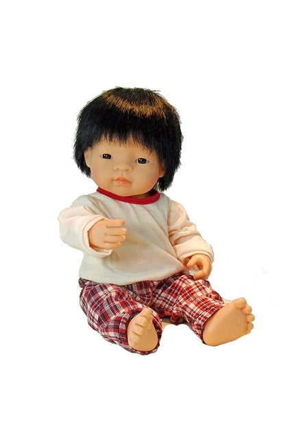 David, a 15 inch all vynyl Asian Baby Boy doll for children