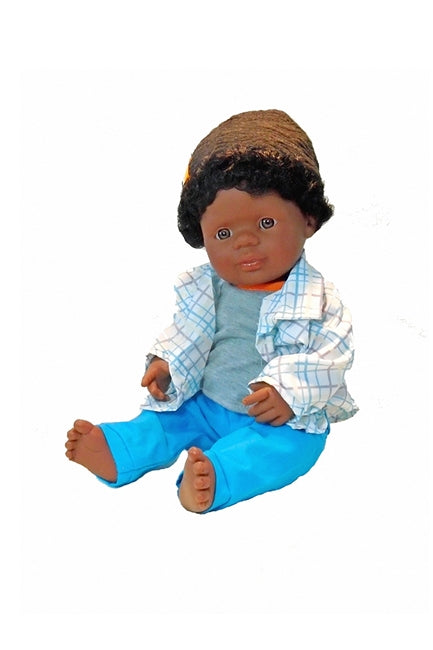 Black Baby Boy Doll, anatomically correct 15 inches from The Pattycake Doll Company