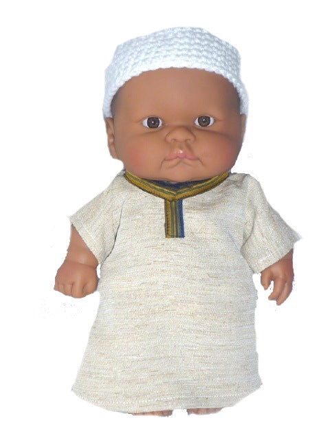 Small Multicultural Muslim Baby Boy Doll in Kufi and Kaftan Outfit