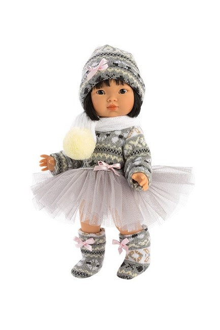 Dottie Aja, our most poplar asian doll for kids in her new dance ispired winter tutu outfit