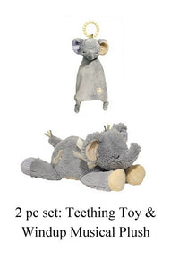 Stuffed Elephant Musical Doll and Matching Teething Soother and Elephant Lovey Security Blanket